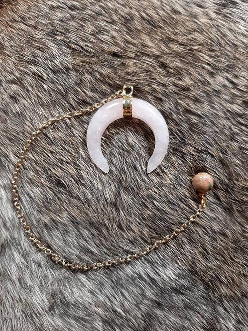 Wholesale Rose Quartz Crescent Pendulum