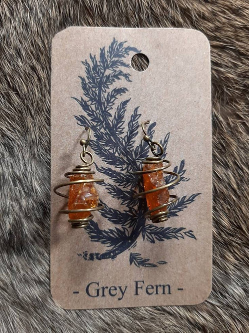 Amber Gemstone Cage Earrings