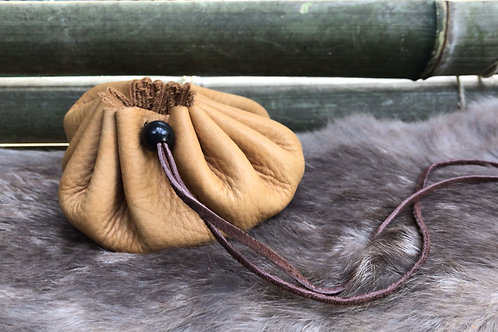Leather Pouch with Obsidian Bead