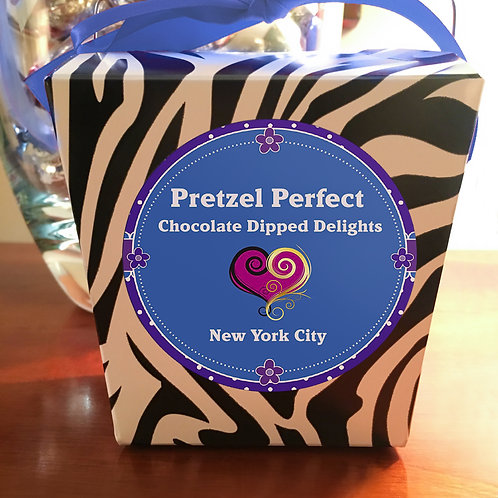 Zebra Gift Box of 16 Pretzels w/Chocolate and Toppings of your Choice!!