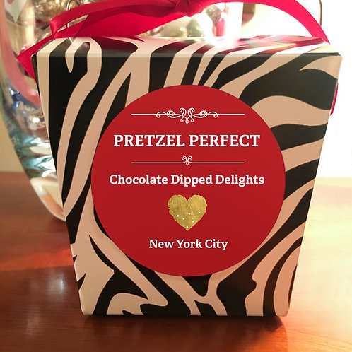 Send Love Zebra Box of 16 House Chocolate Pretzels w/Toppings of your Choice!