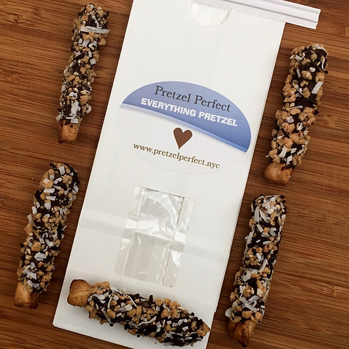 1 Dozen Everything Pretzels w/House Chocolate and Each Topping on Every Pretzel!