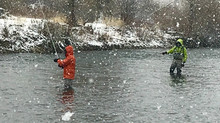 Winter fishing in Boise Idaho.