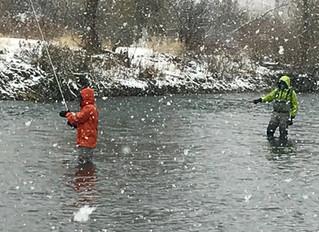 Winter fishing in Boise Idaho.