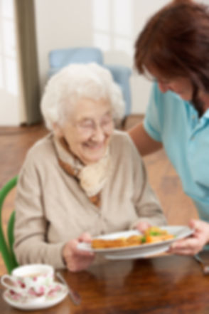 Senior Woman Being Served Meal By Carer.jpg