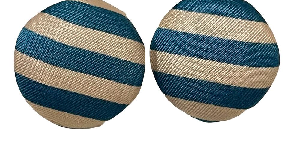 Blue & White Stripe Earrings