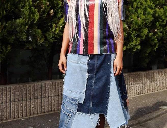 Custom Denim Packed Skirt Made in Japan