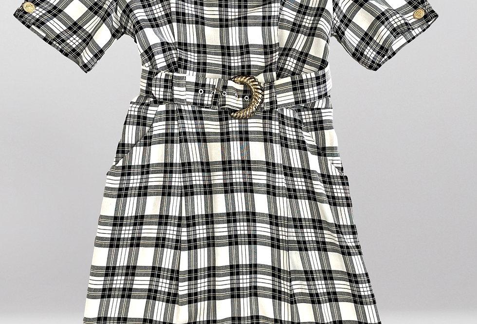 Vintage Tartan Plaid Dress with Belt