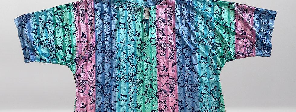 Retro Top Notch Multi-Color Floral Top
