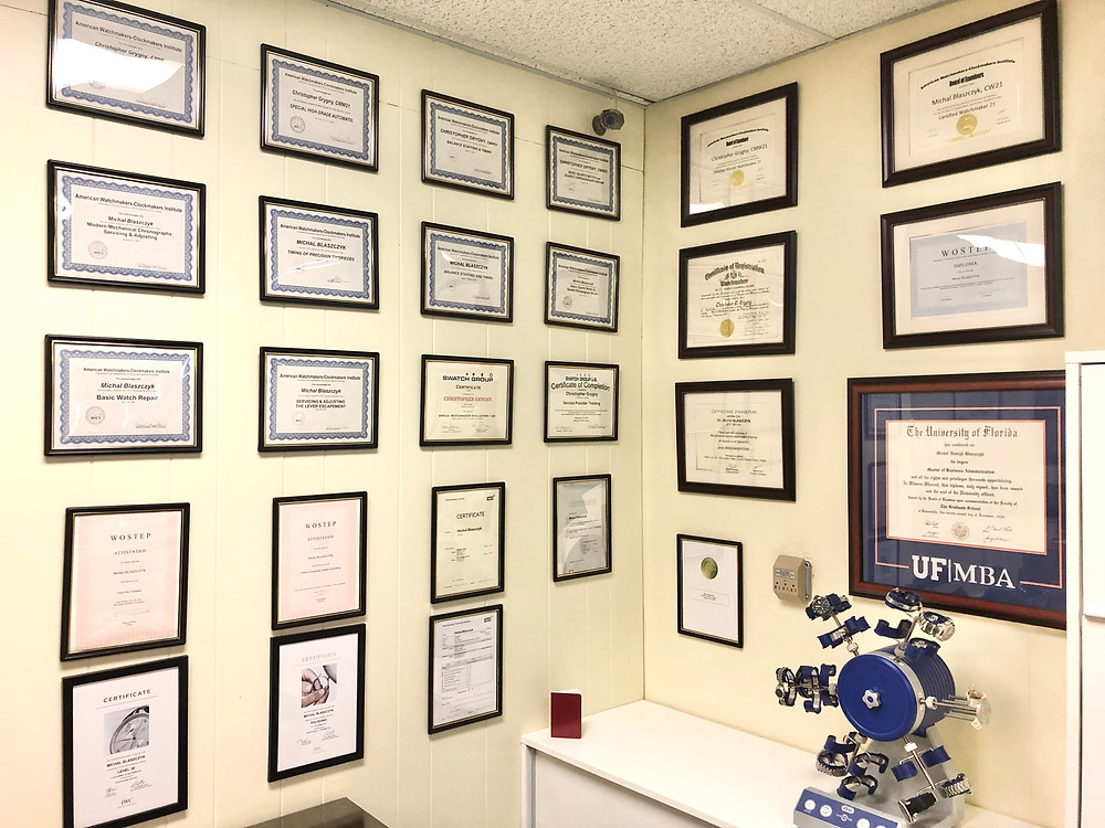This is our wall of our Certifications from AWCI and WOSTEP