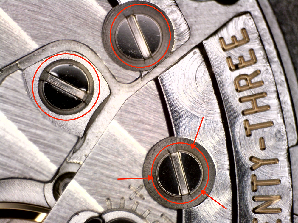 Watchmakers leave no trace. Screw heads on this Swiss watch without damage from unsharpened screwdriver.