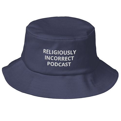 Religiously Incorrect Podcast Old School Bucket Hat Navy