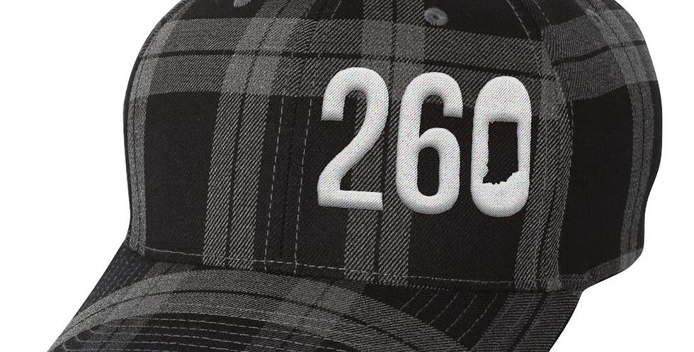 260 Flexfit Hat - Black / Charcoal Plaid