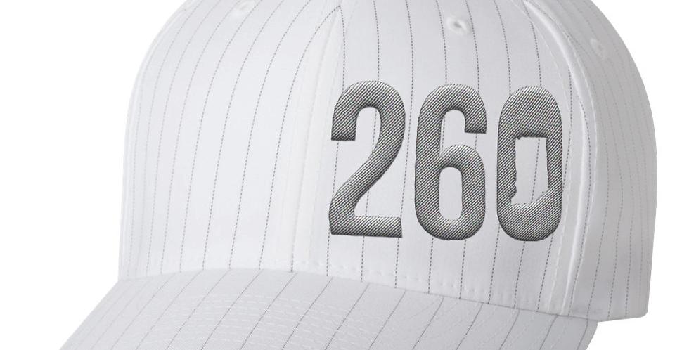 260 Flexfit Hat - White with Grey Pinstripe
