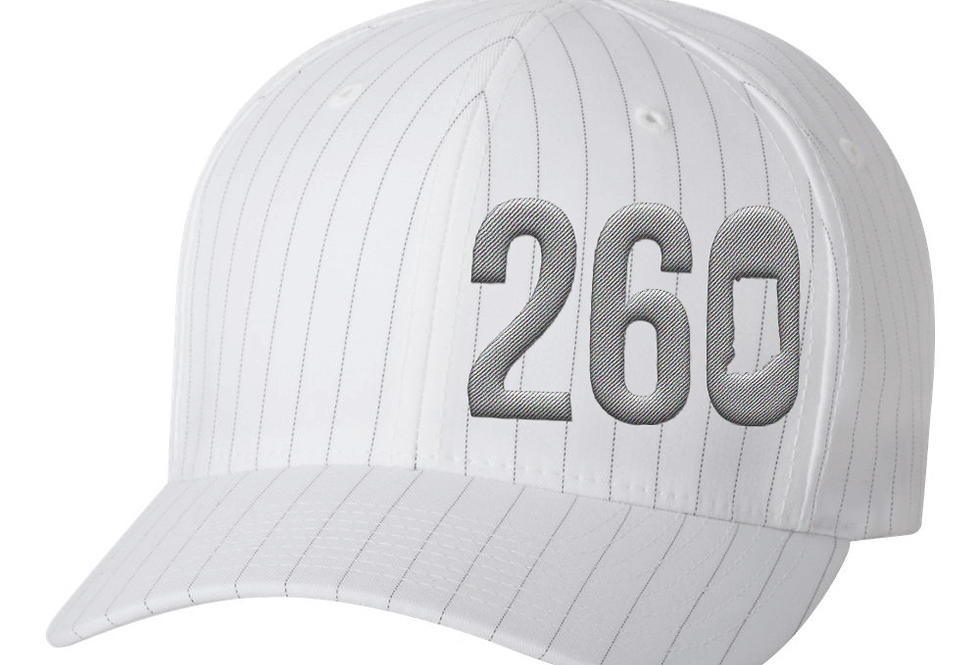 260 Flexfit Hat - White with Grey Pinstripe