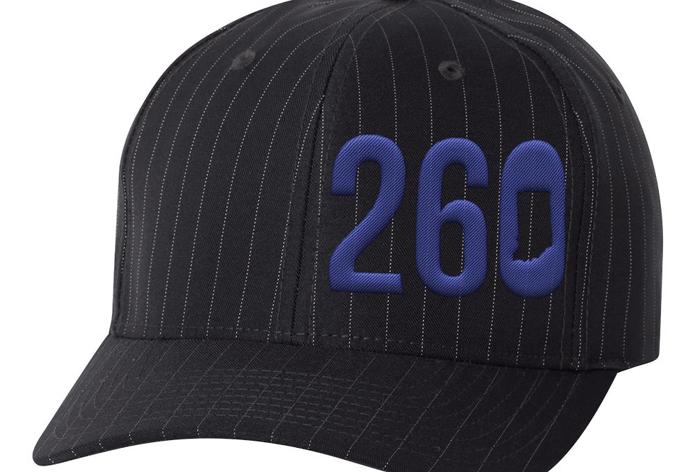 260 Flexfit Hat - Black with Silver Pinstripe