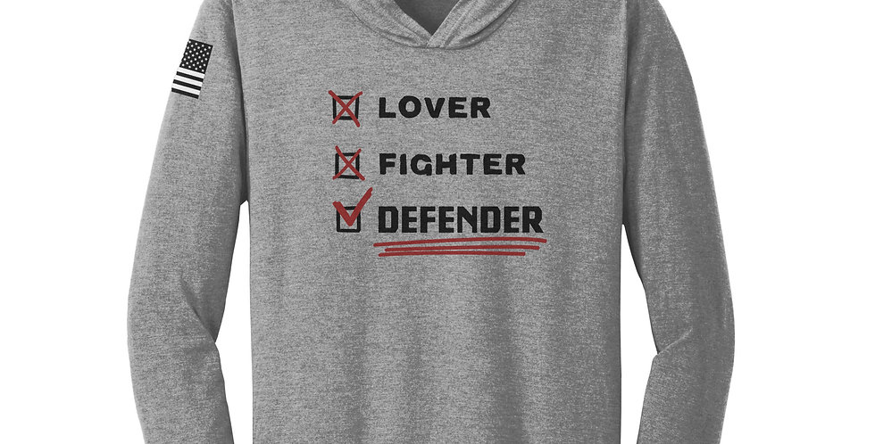 Lover, Fighter, Defender Unisex Long Sleeve Hooded Tee