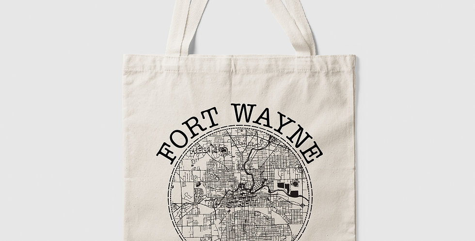 Fort Wayne Map Canvas Tote