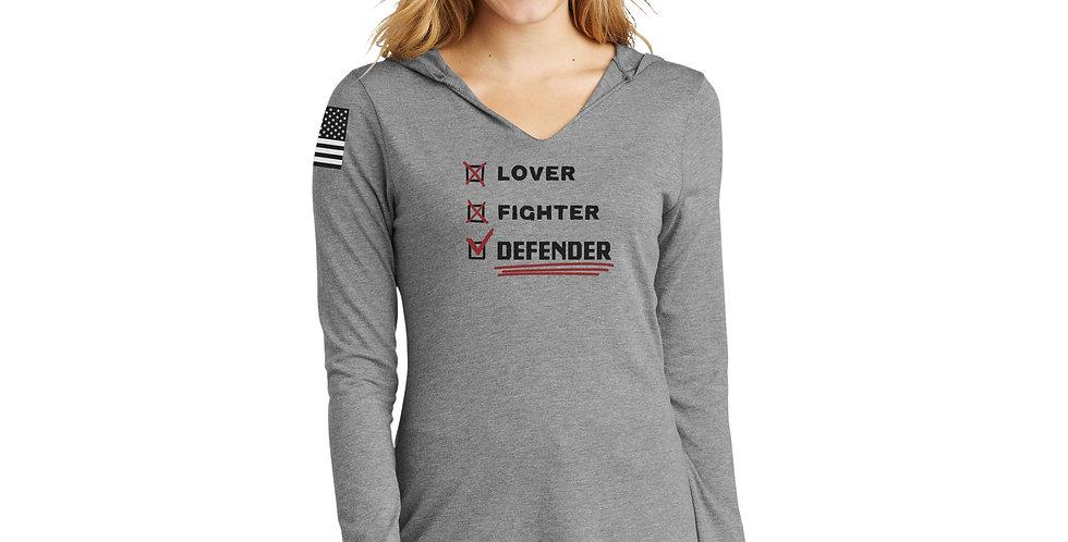 Lover, Fighter, Defender Women's Long Sleeve Hooded Tee