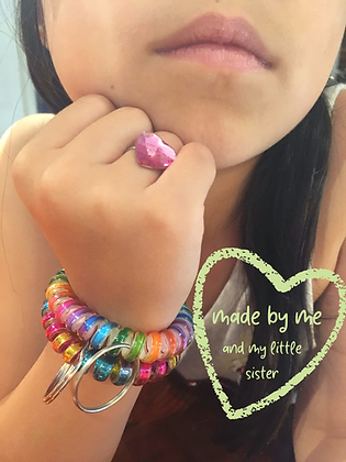 key ring wrist huggle, rainbow matte & rainbow jewel, set of 2