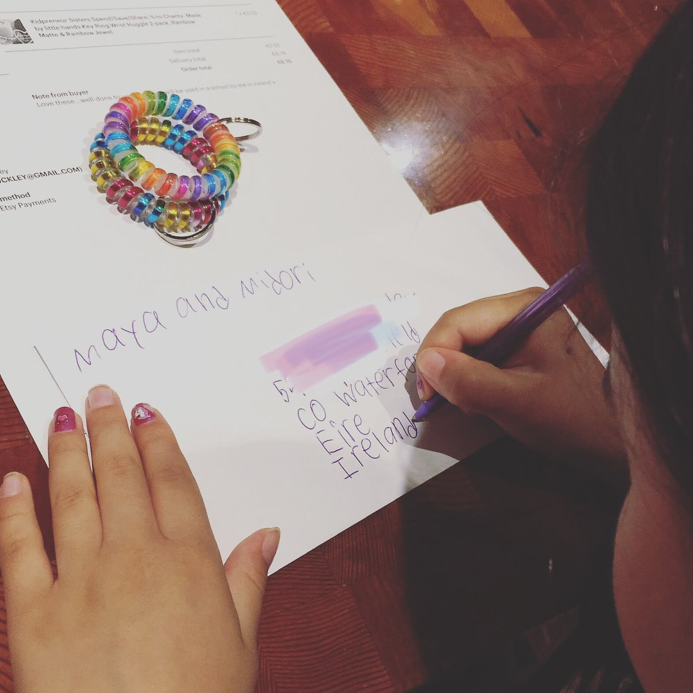 "<img src=""letter.png"" alt=""child entrepreneur addresses letter to Ireland to mail rainbow spiral hair ties"">"