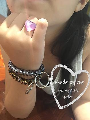 key ring wrist huggle, gold leopard & silver leopard, set of 2