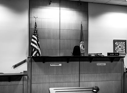 bench without judge in courtroom