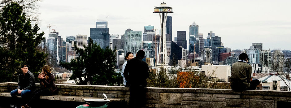 Seattle Family Happy with Child viewing space needle