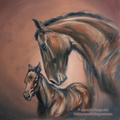 Mare and Foal Oil Painting