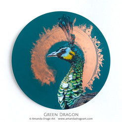 """Green Dragon"" Green Peacock Painting"