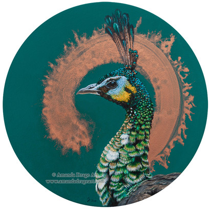 Green Peacock Painting