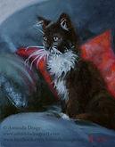 Kitten oil painting by Amanda Drage Art