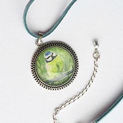 Blue Tit pendant art jewellery by Amanda Drage Art