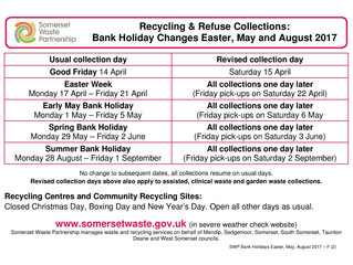 SWP Bank Holiday Dates 2017