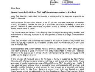 Support for an Artificial Grass Pitch (AGP) to serve communities in Area East