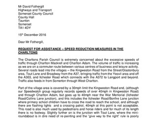Speed Limit letter to David Fothergill