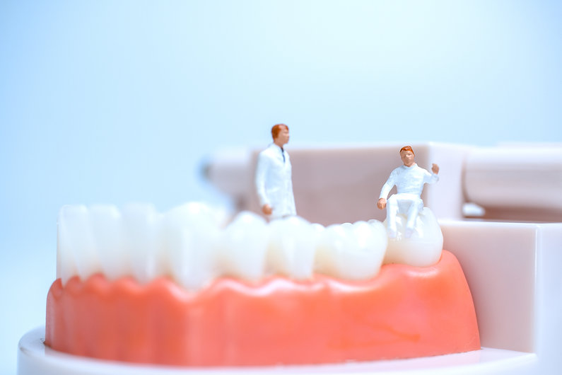 miniature-dentists-observing-discussing-