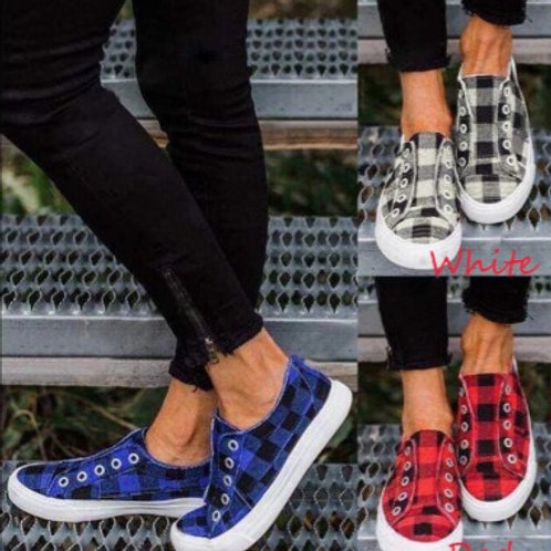 Pretty In Plaid Slip On Sneakers INCLUDES SHIPPING!