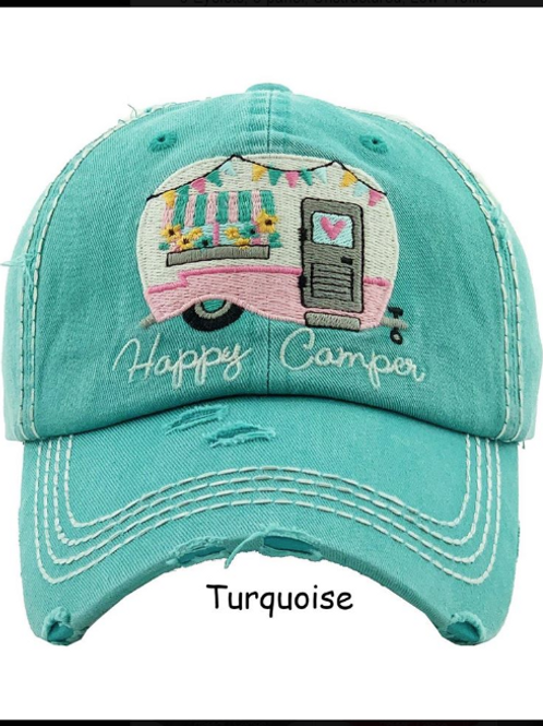Happy Camper Distressed Baseball Cap INCLUDES SHIPPING!