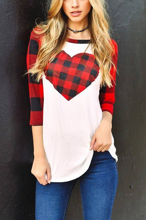 Buffalo Plaid Heart Raglan INCLUDES SHIPPING!
