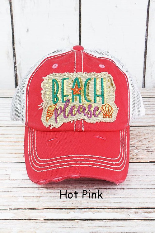 Beach Please Distressed Baseball Cap INCLUDES SHIPPING!