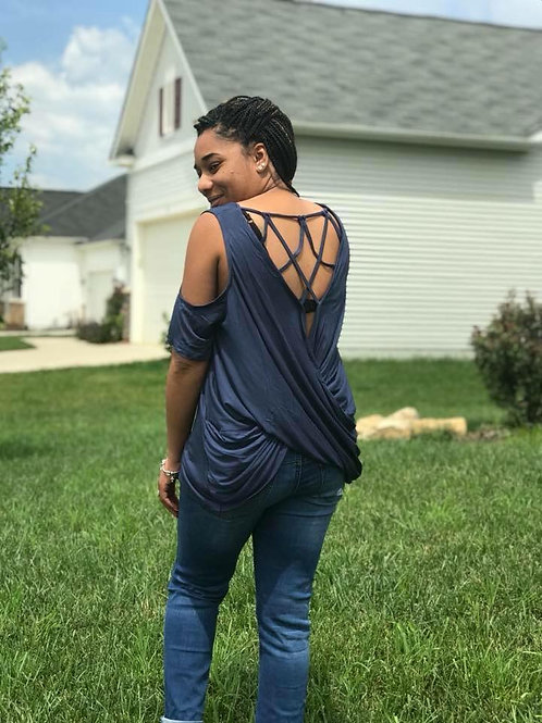 Criss Cross Back-Cold Shoulder Top INCLUDES SHIPPING!