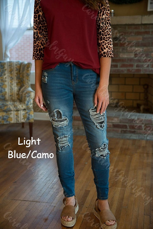 Peekaboo Distressed Patch Jeans INCLUDES SHIPPING!