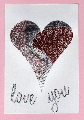 Pink & Silver Heart Iris Folded