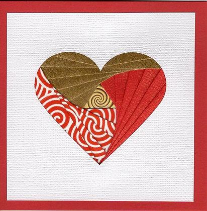 Red & Gold Heart Iris Fold