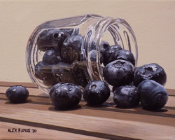Blueberries in Hexagonal Jar