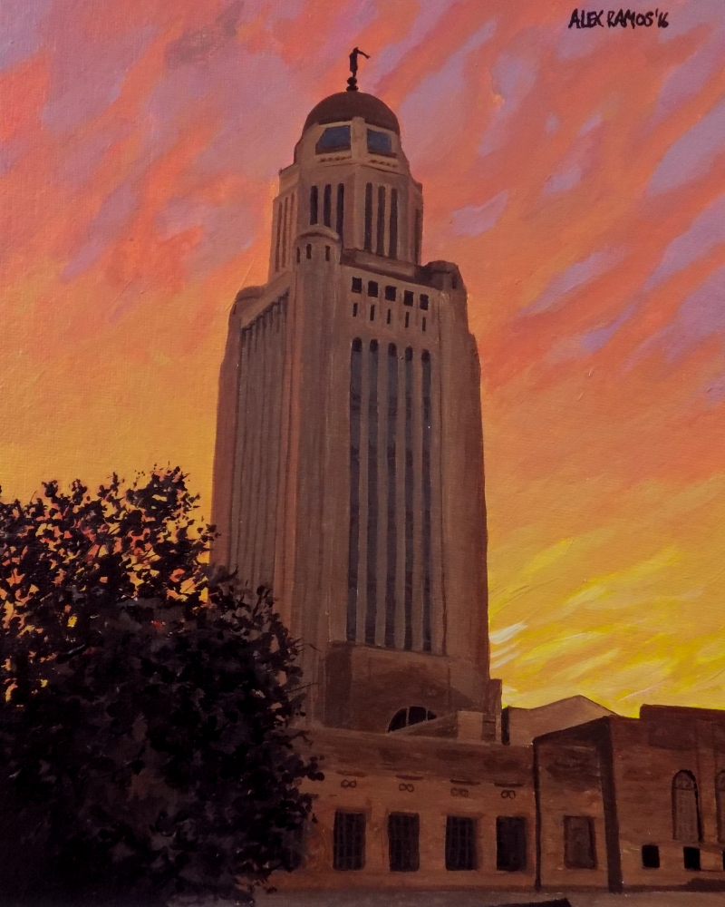 Nebraska State Capitol at Dusk