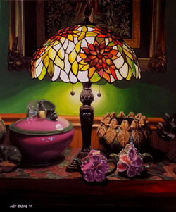 Lamp with Ceramic Frogs and Flowers
