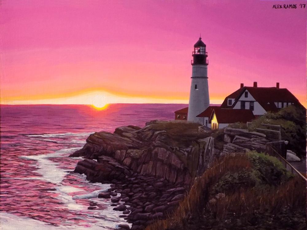 Portland Headlight at Sunrise