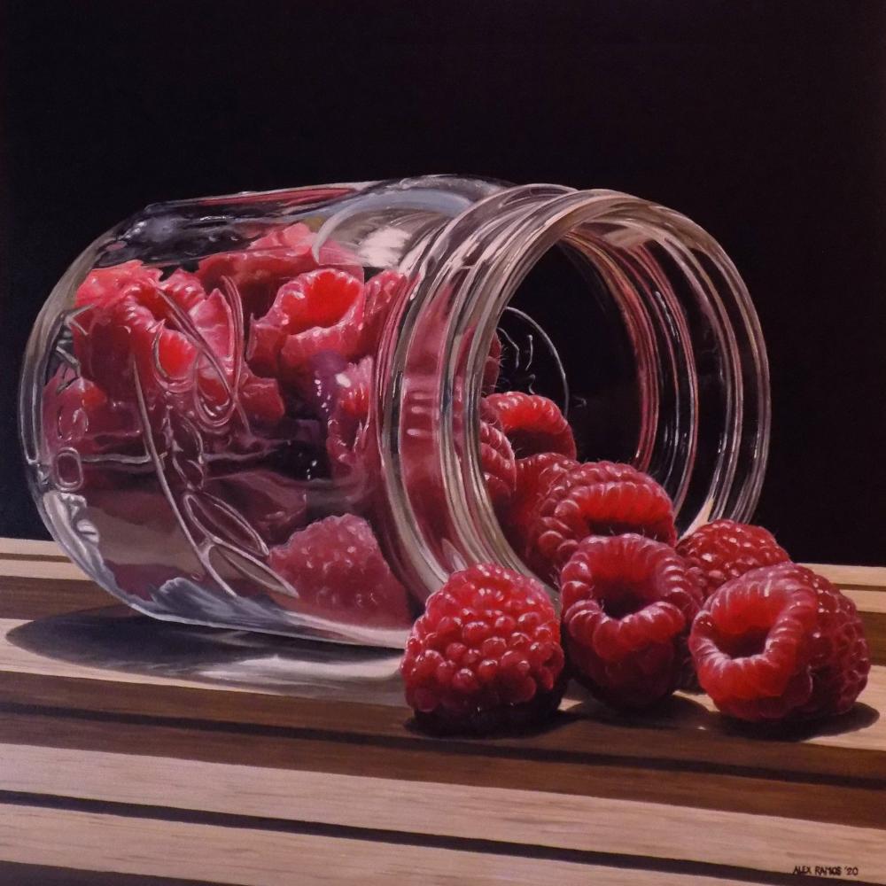 Raspberries in Ball Jar